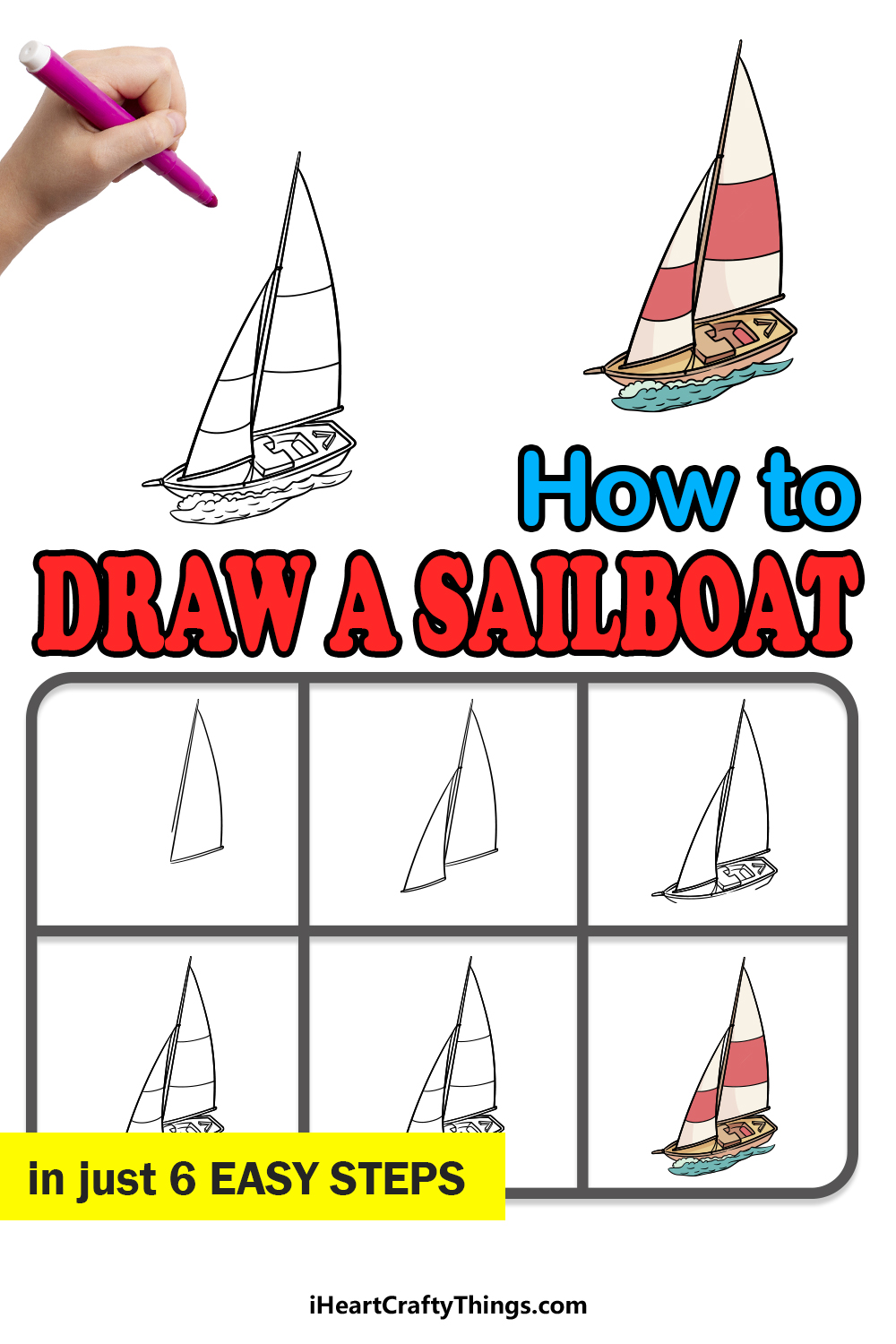 how to draw a sailboat in 6 easy steps