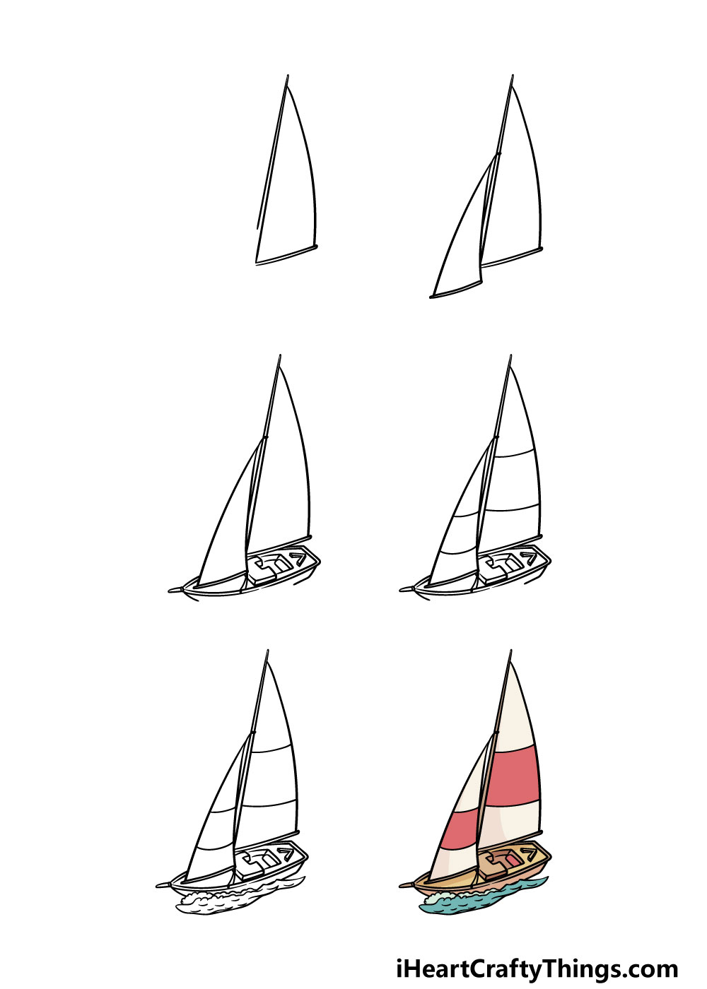 how to draw a sailboat in 6 steps
