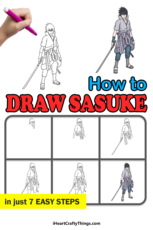 how to draw Sasuke in 7 easy steps