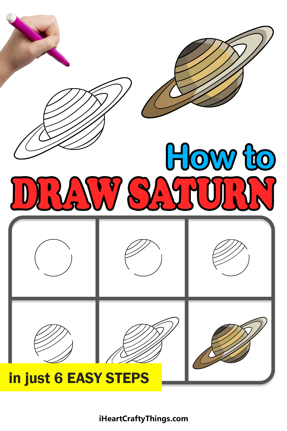 how to draw Saturn in 6 easy steps