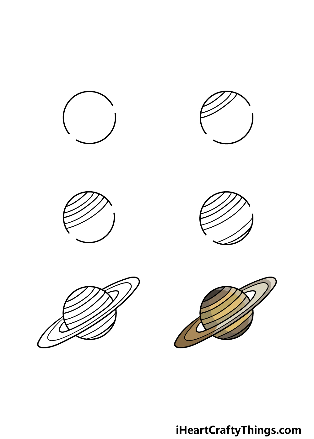 how to draw Saturn in 6 steps