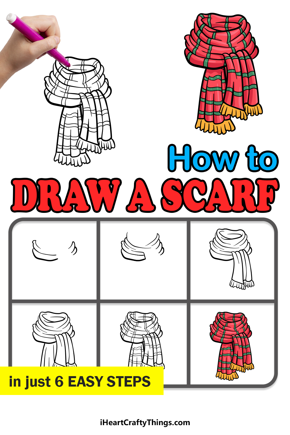 how to draw a scarf in 6 easy steps