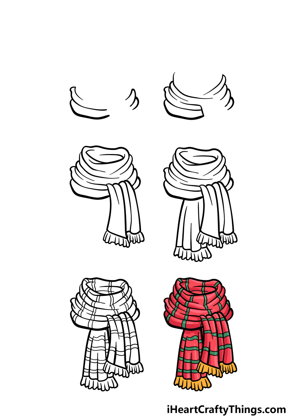 how to draw a scarf in 6 steps