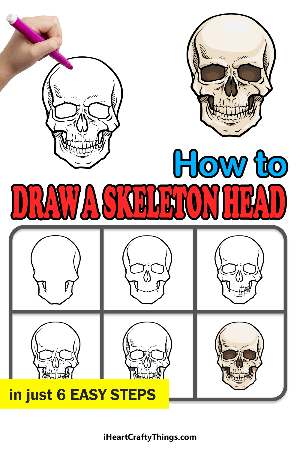 how to draw a skeleton head in 6 easy steps