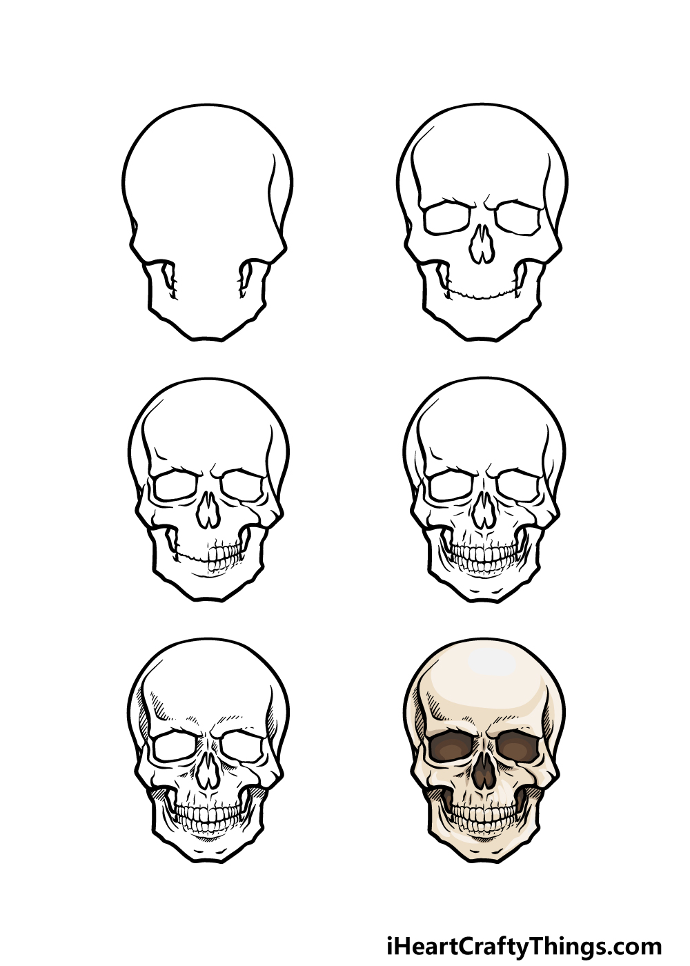 how to draw a skeleton head in 6 steps