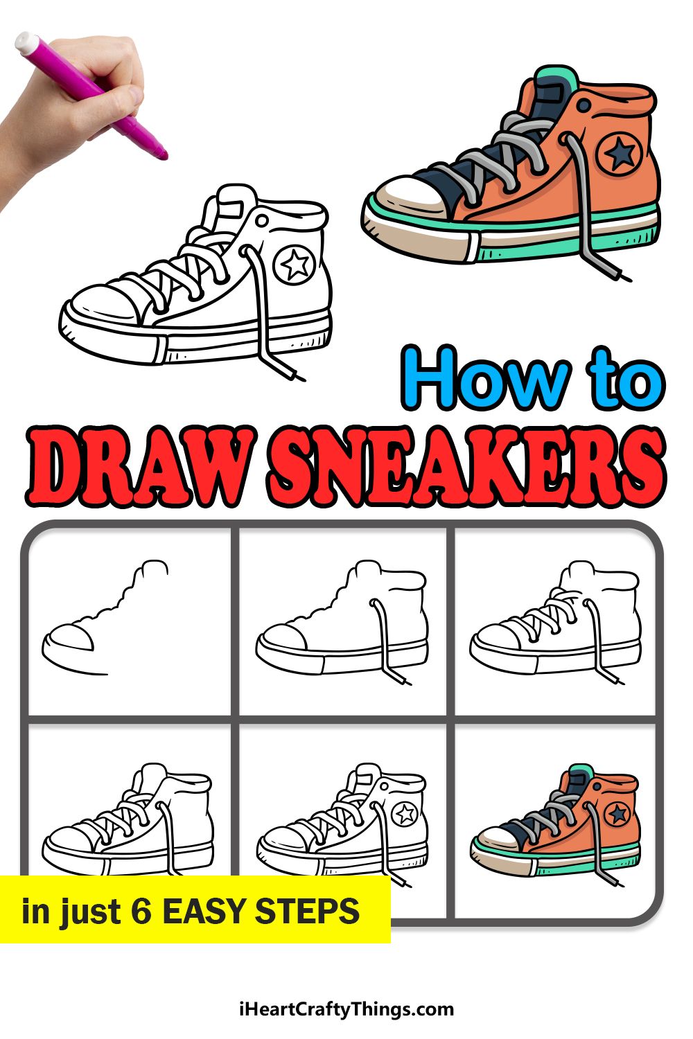 how to draw sneakers in 6 easy steps