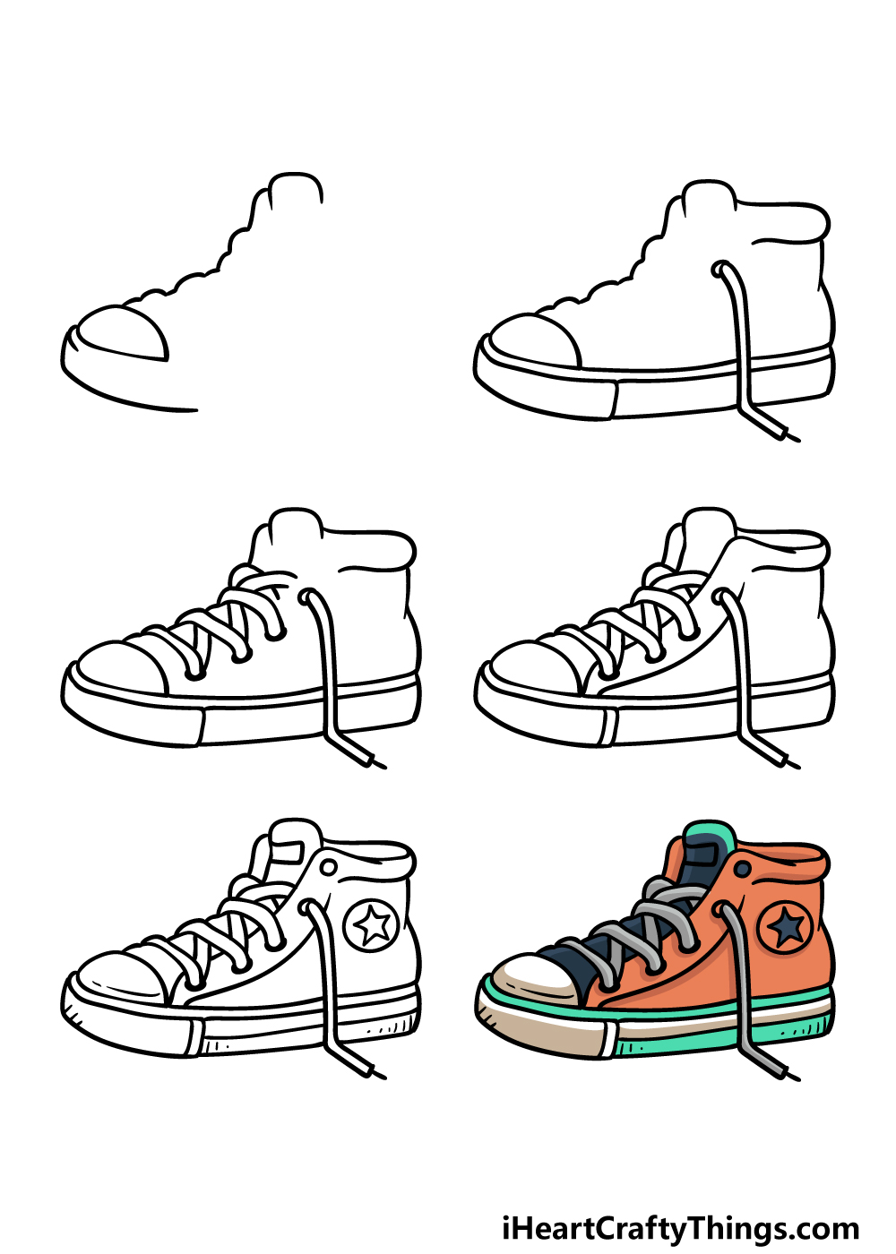 how to draw sneakers in 6 steps