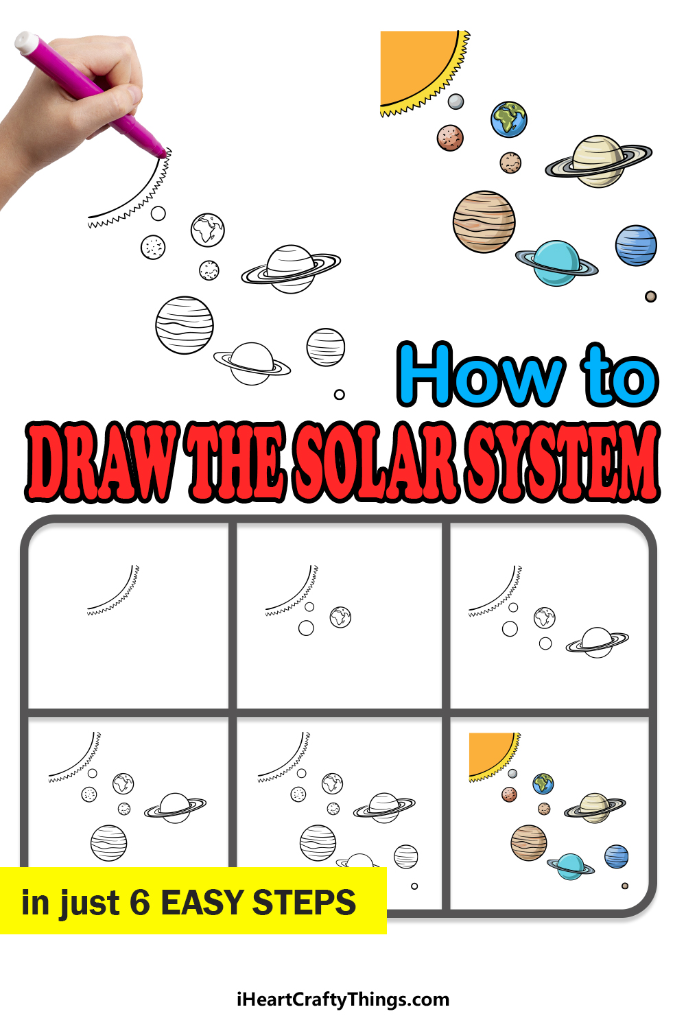 how to draw the solar system in 6 easy steps