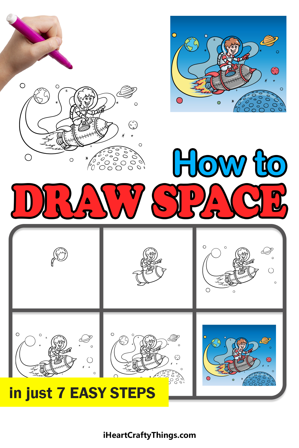 how to draw space in 7 easy steps