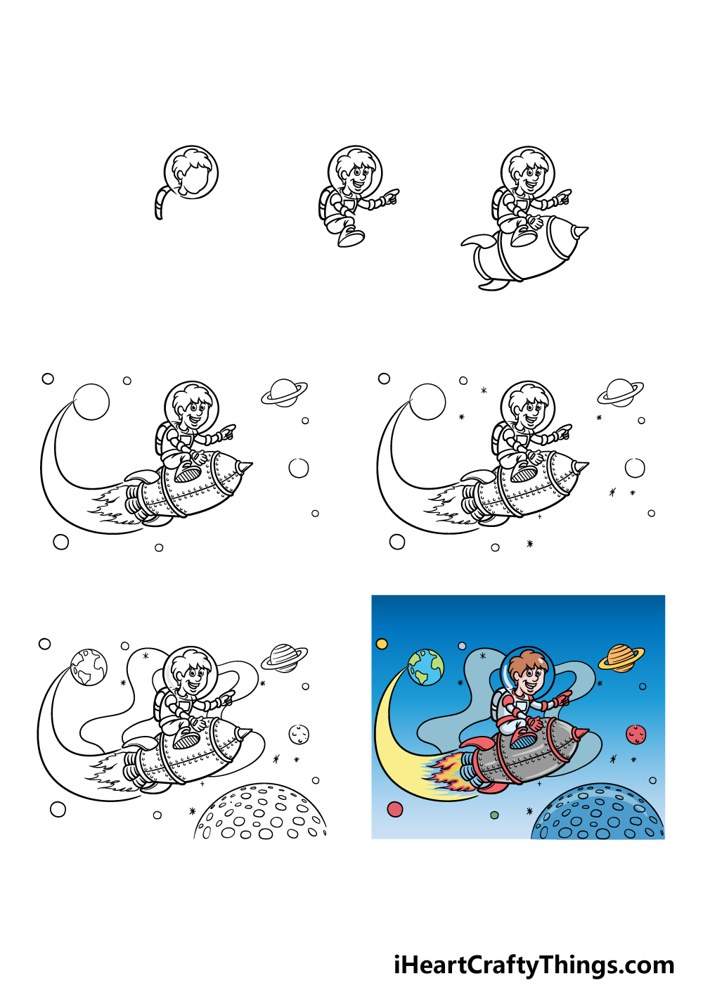 how to draw space in 7 steps