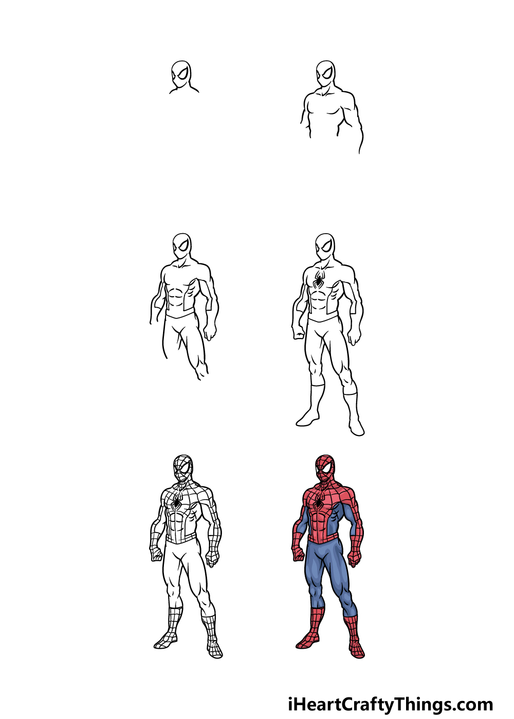 how to draw Spiderman in 6 steps