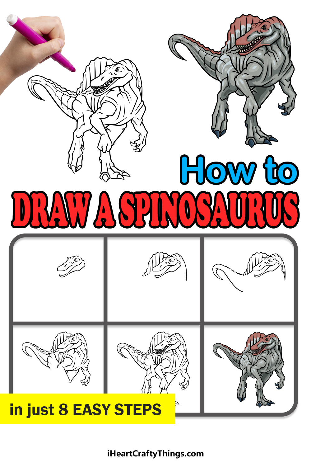 how to draw Spinosaurus in 8 easy steps
