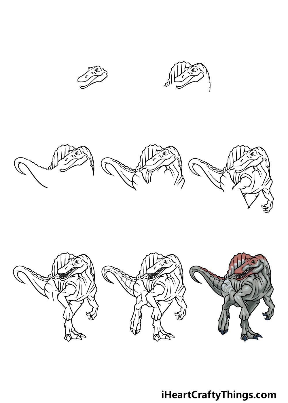 how to draw Spinosaurus in 8 steps