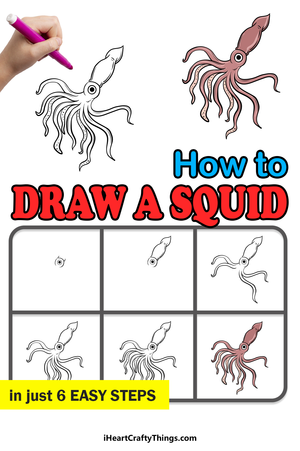 how to draw a squid in 6 easy steps