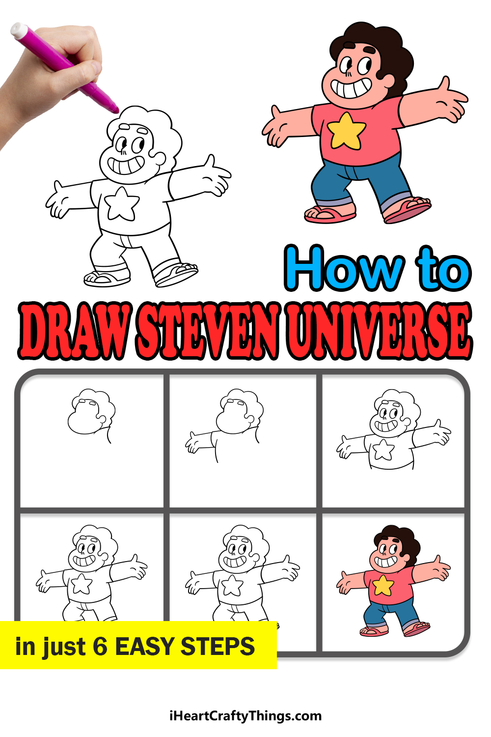 how to draw steven universe in 6 easy steps