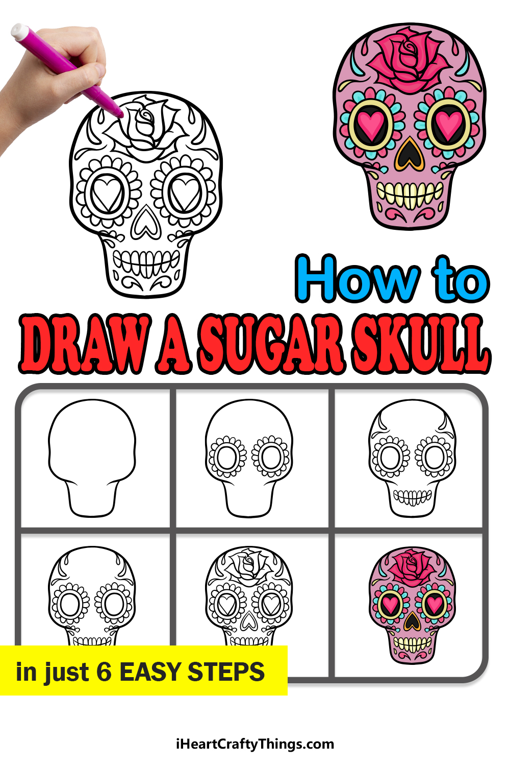 how to draw a sugar skull in 6 easy steps