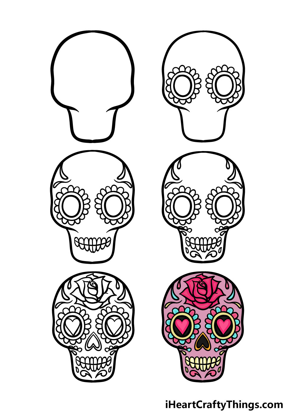how to draw a sugar skull in 6 steps