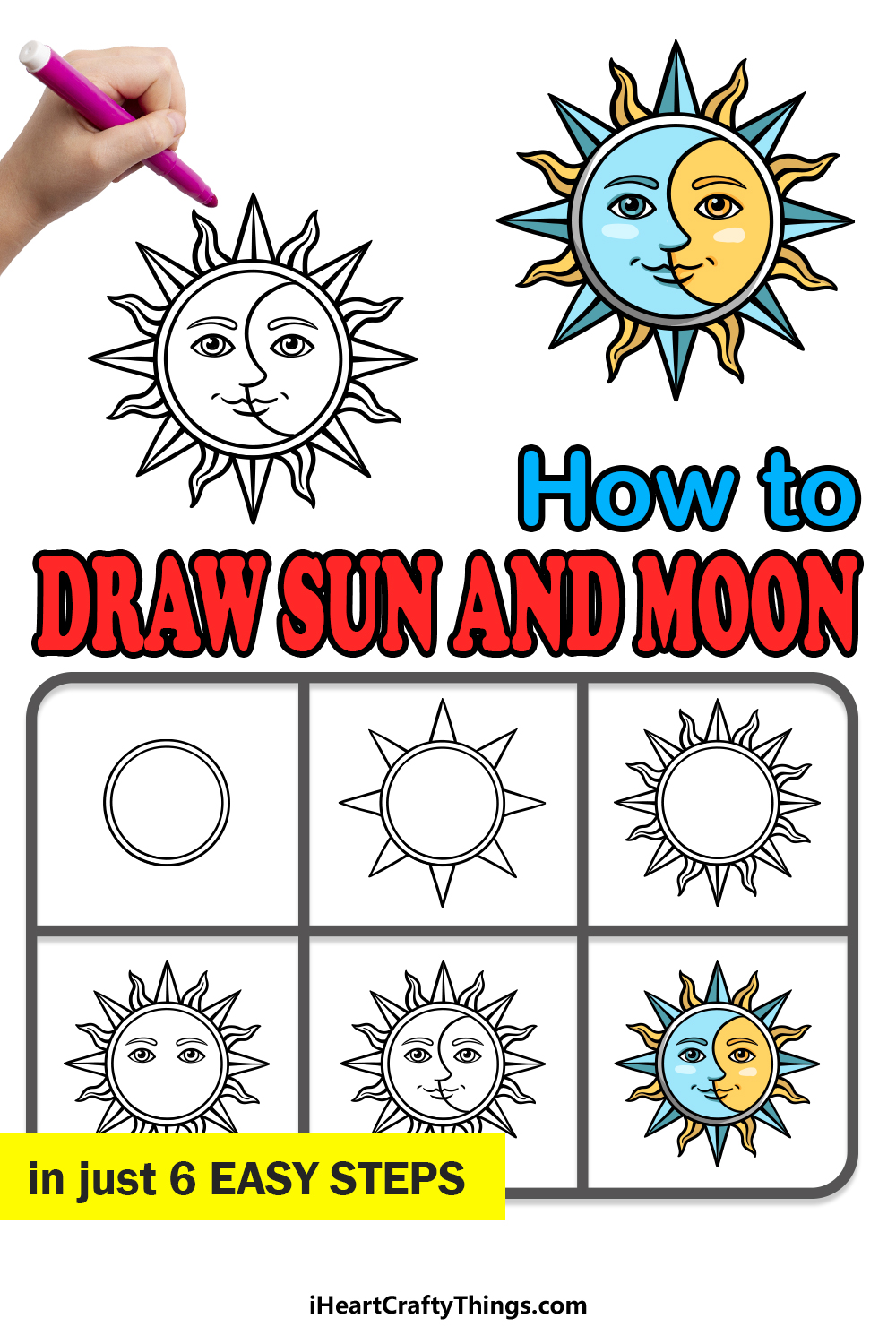 how to draw sun and moon in 6 easy steps