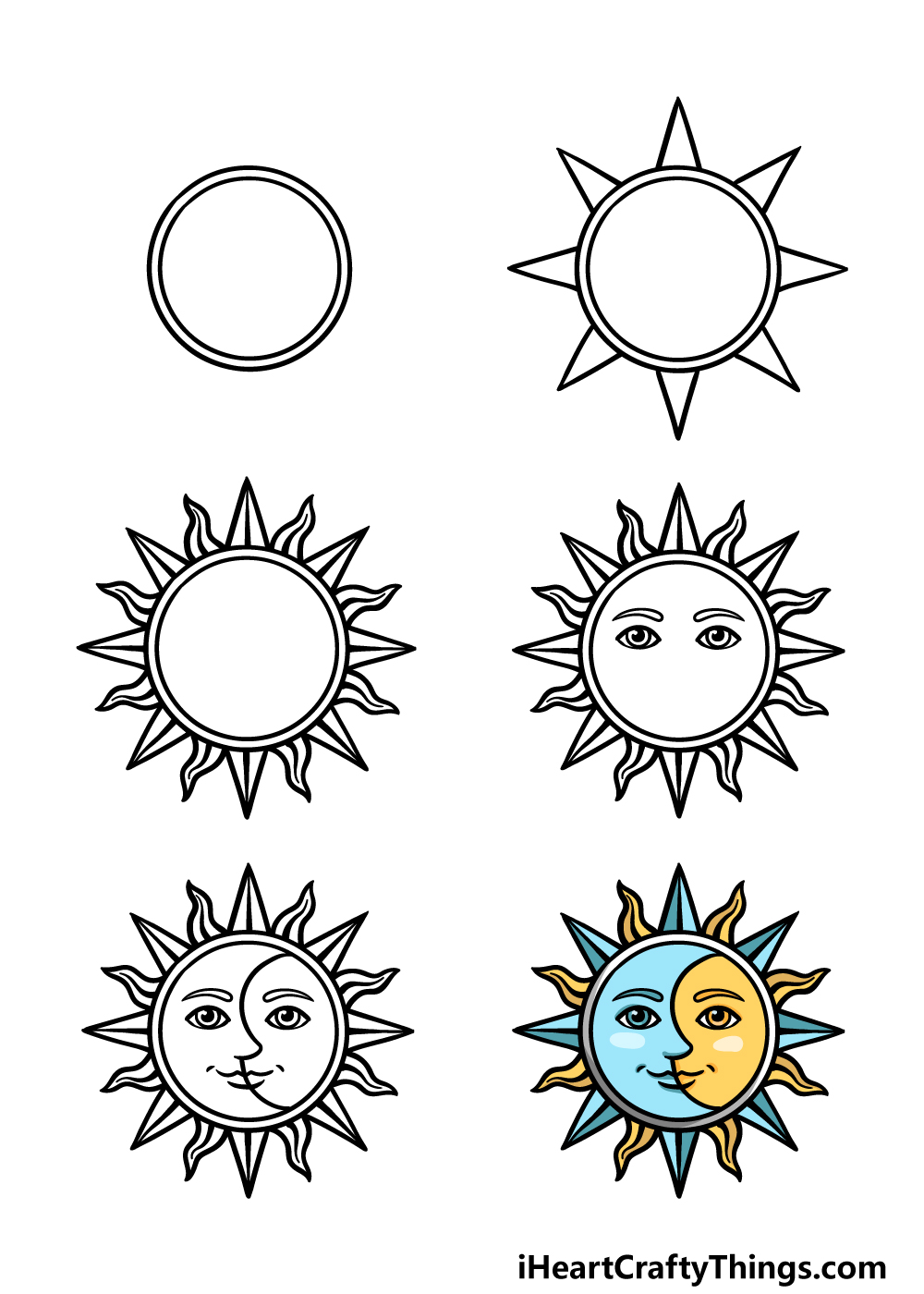 how to draw sun and moon in 6 steps