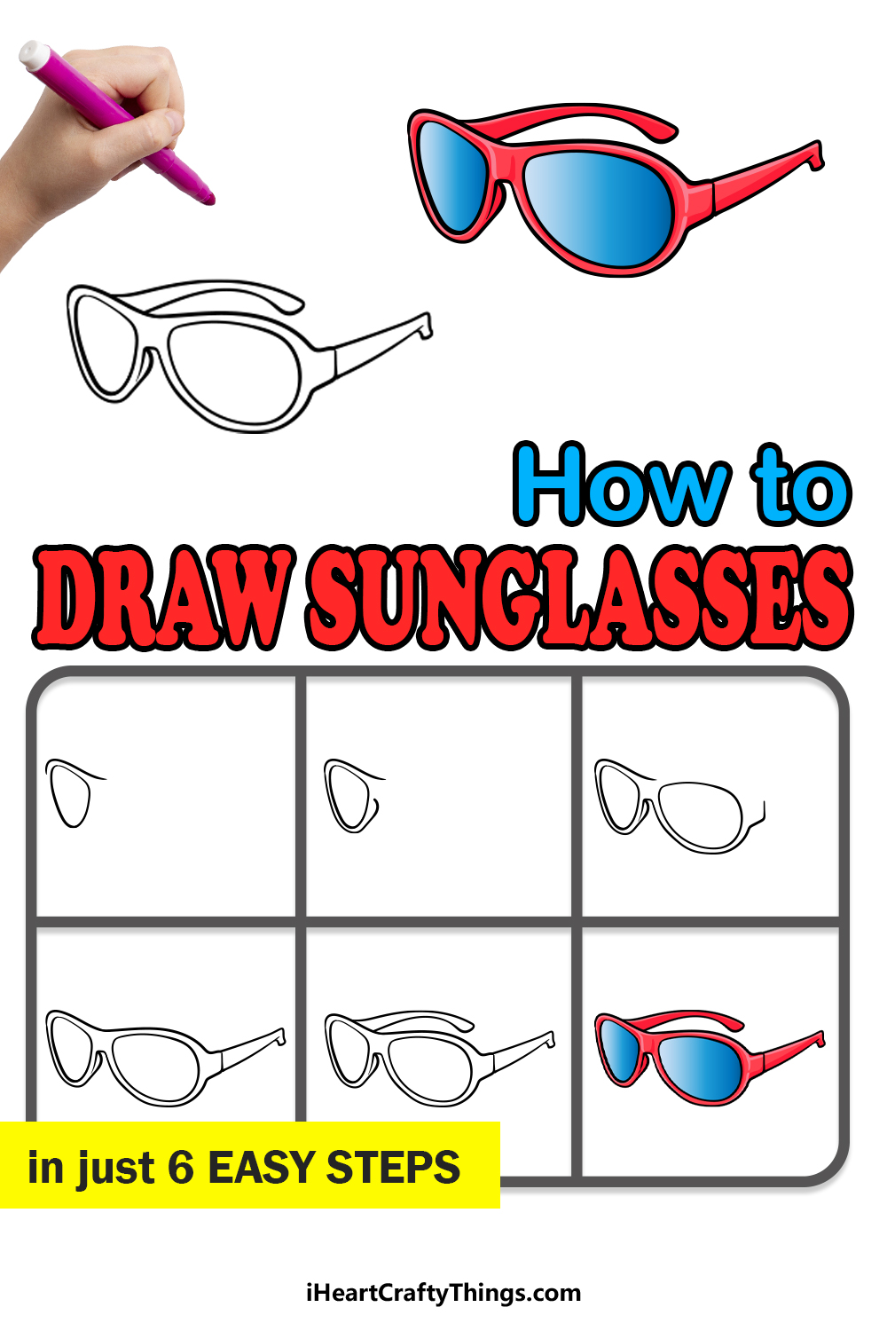 how to draw sunglasses in 6 easy steps
