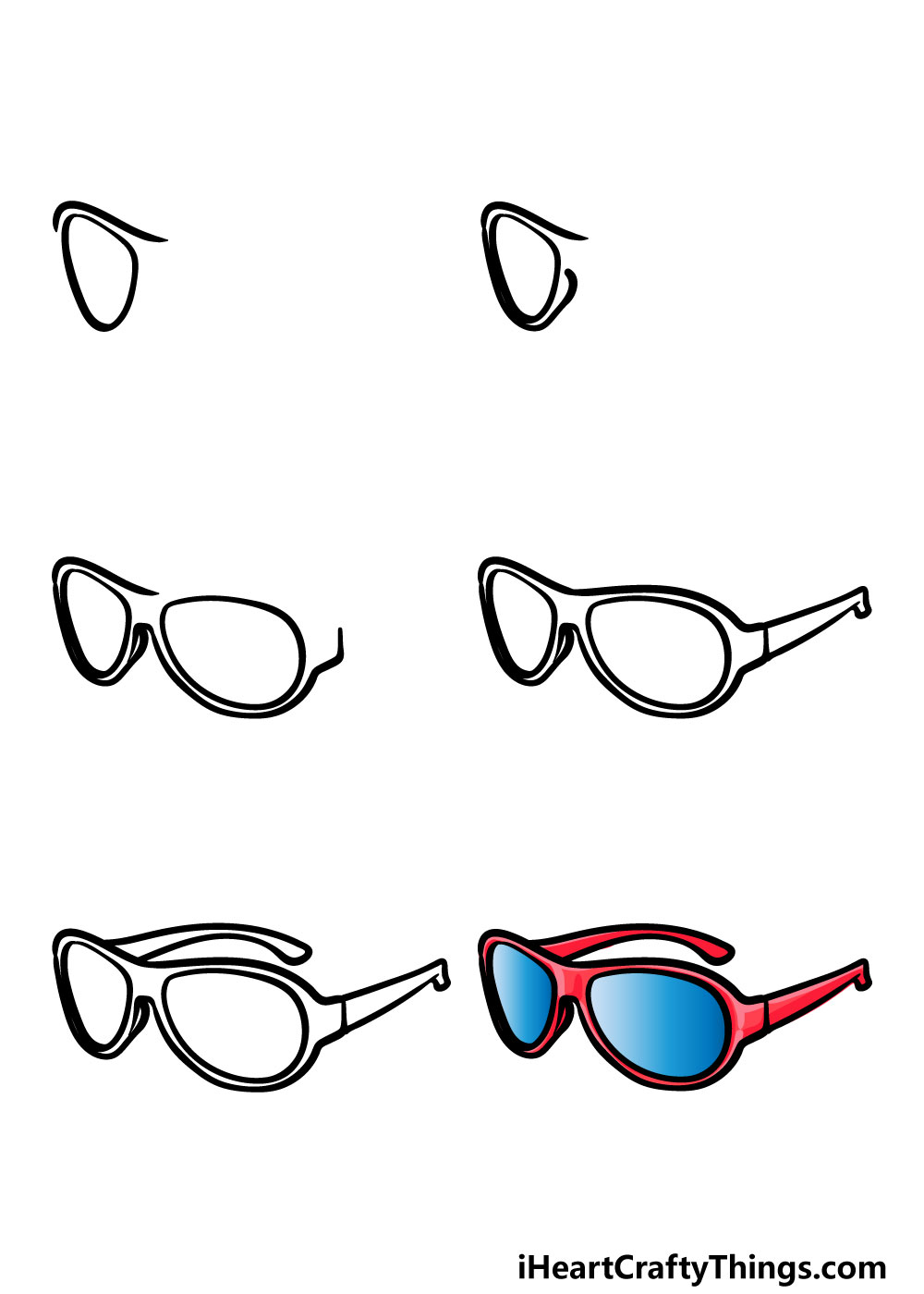 how to draw sunglasses in 6 steps