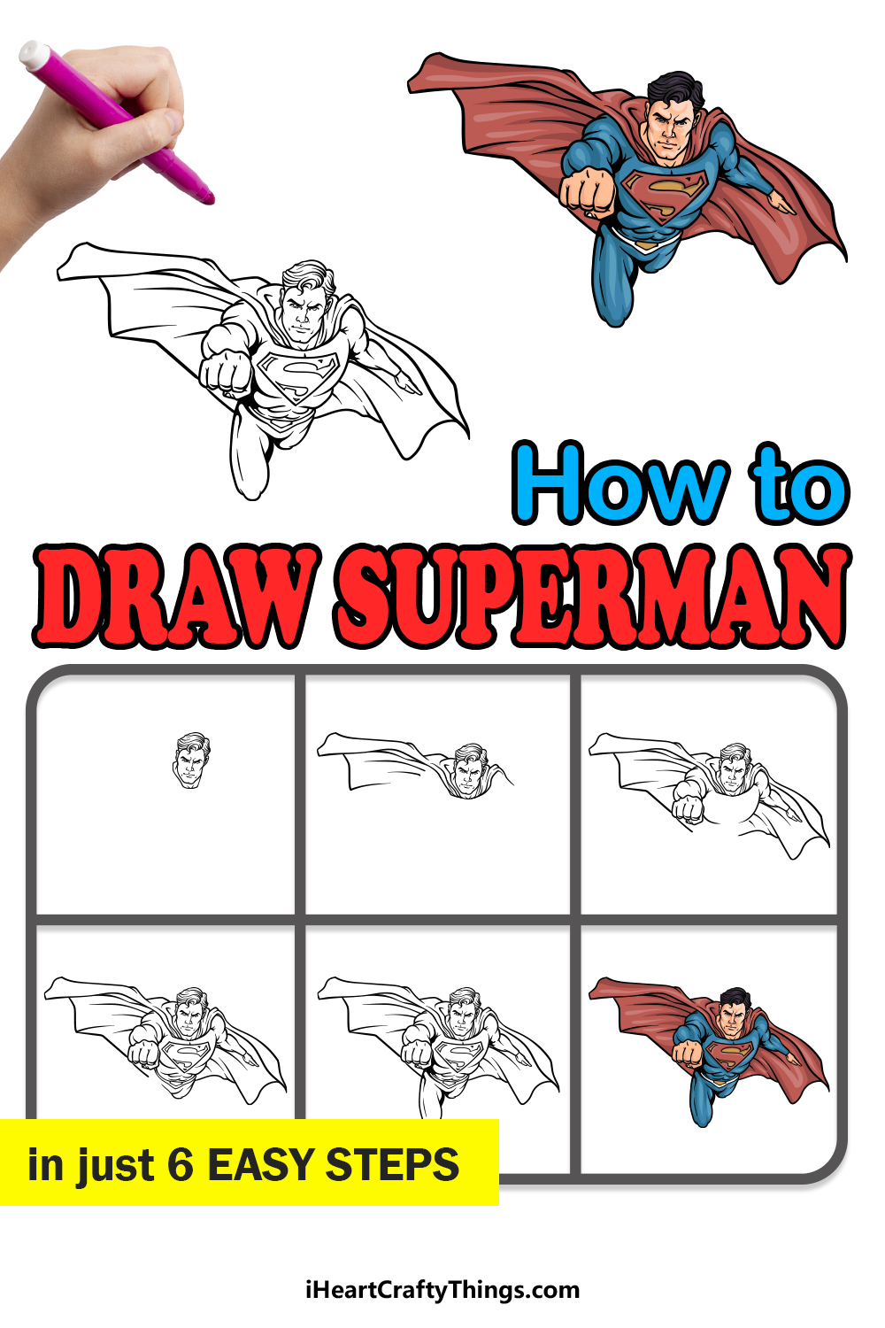 how to draw Superman in 6 easy steps