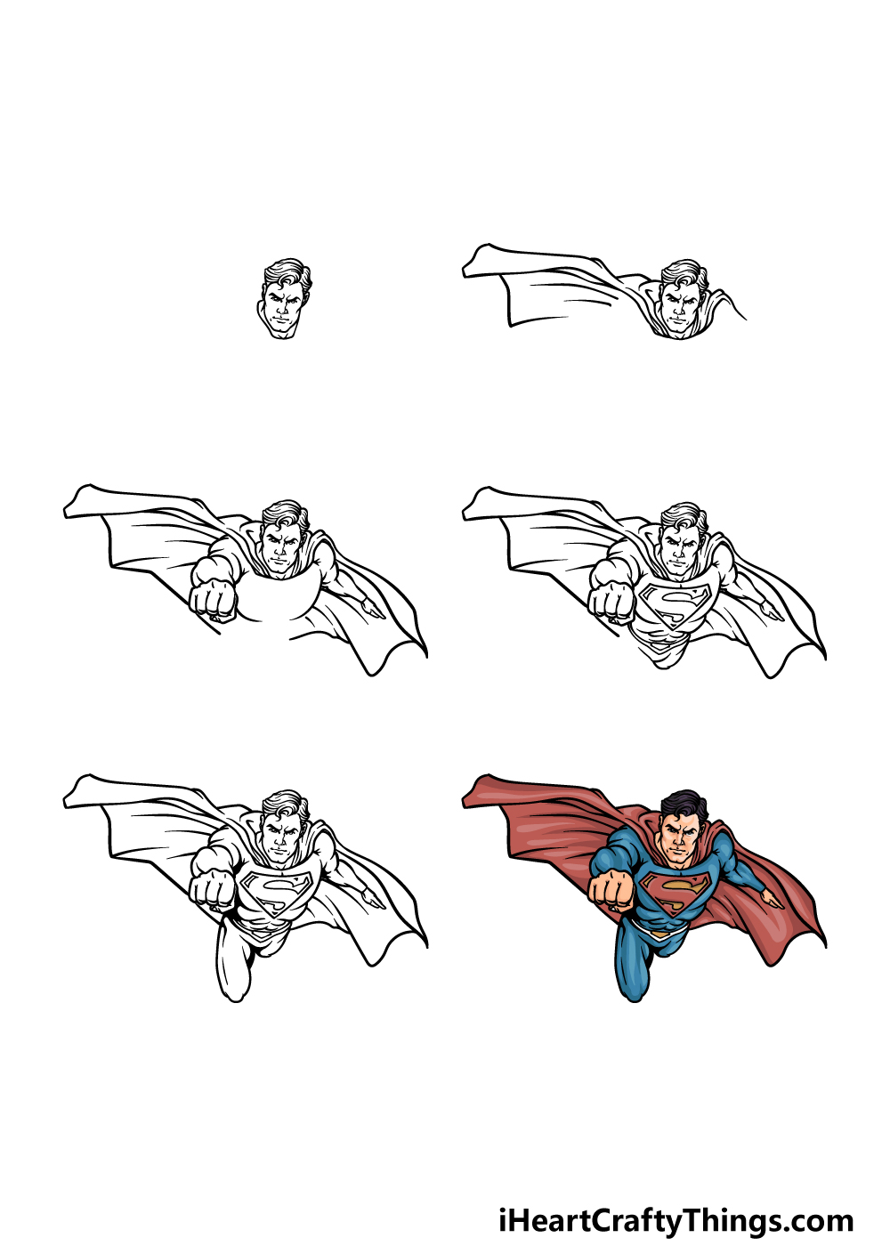 how to draw a Superman in 6 steps