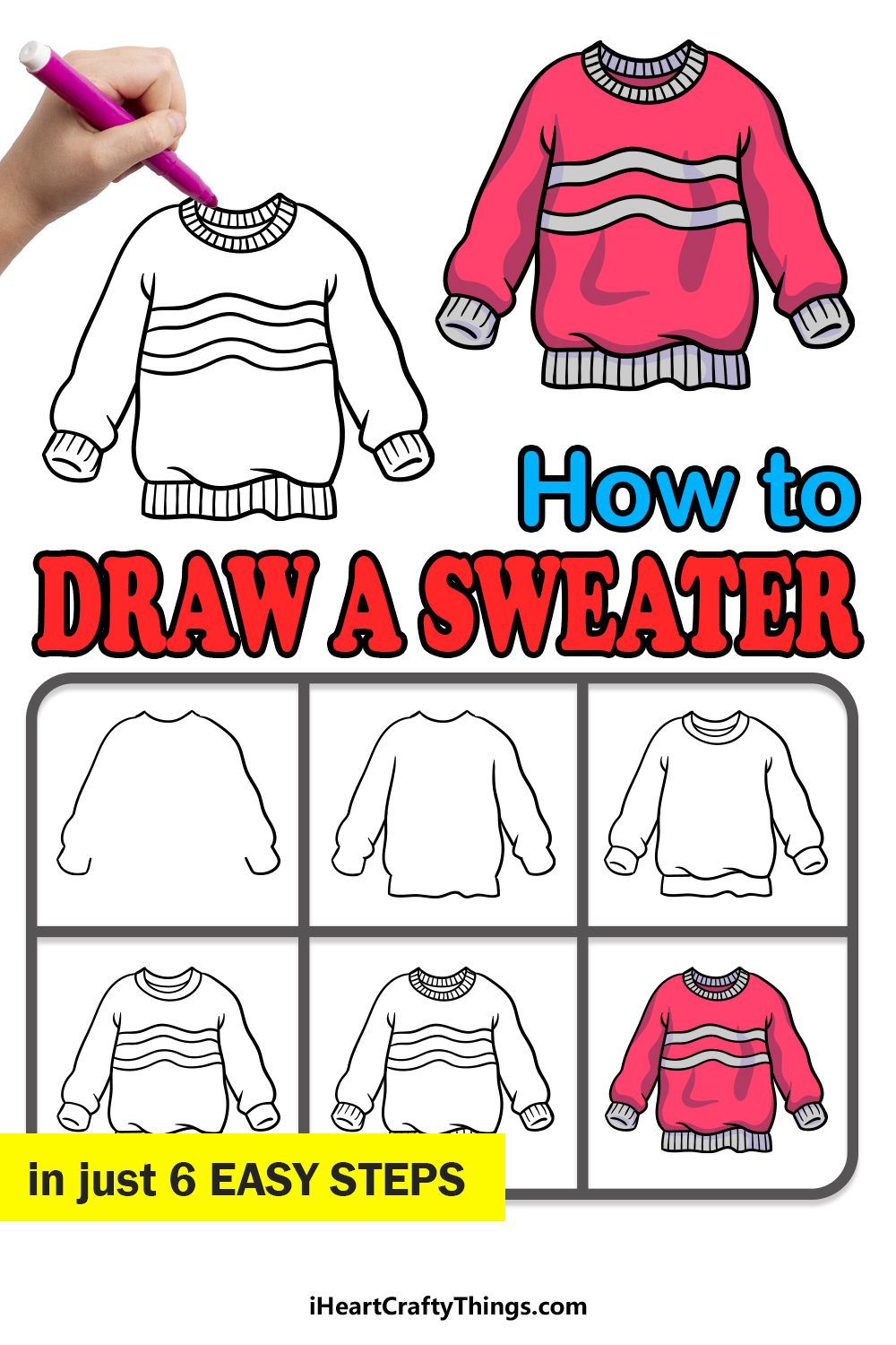 how to draw a sweater in 6 easy steps