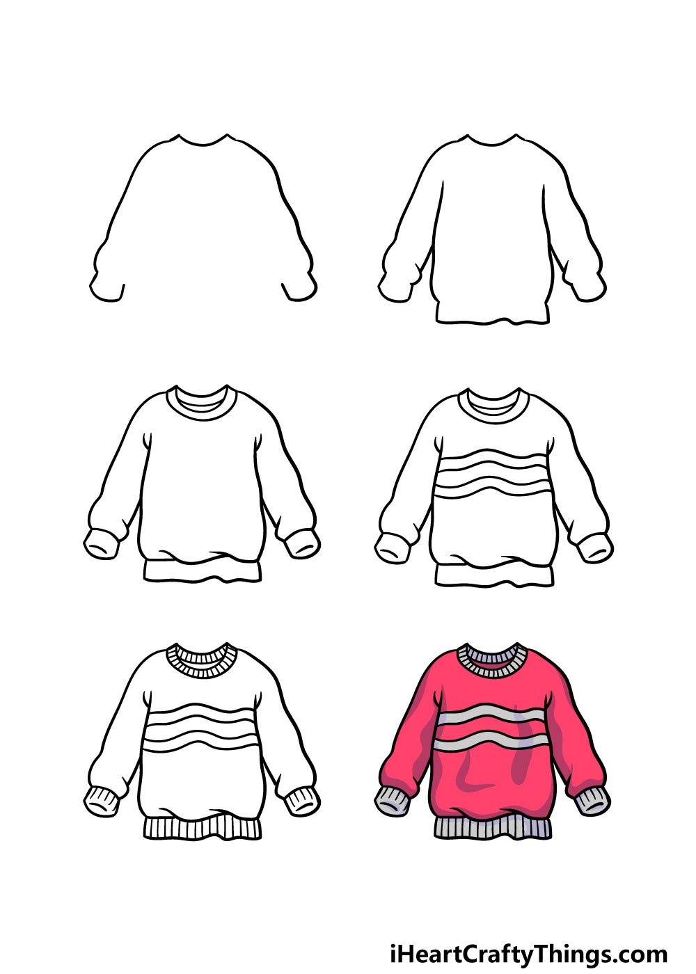 how to draw a sweater in 6 steps
