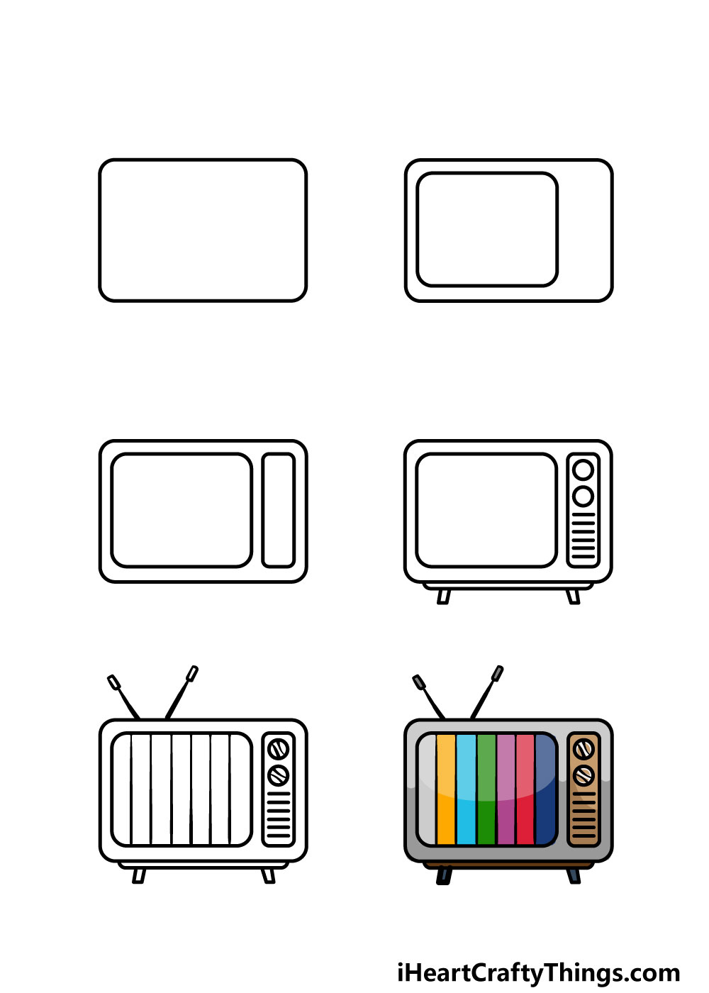 how to draw a TV in 6 steps