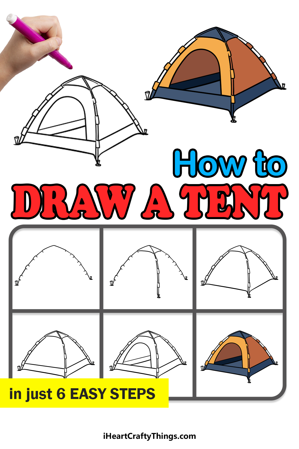 how to draw a tent in 6 easy steps