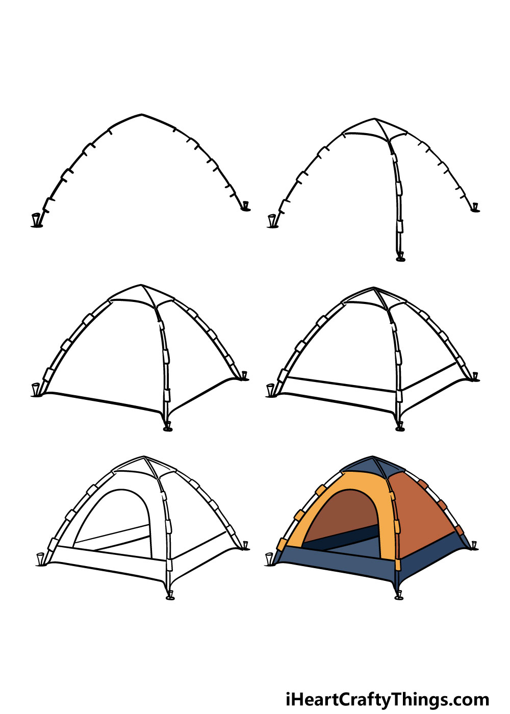 how to draw a tent in 6 steps