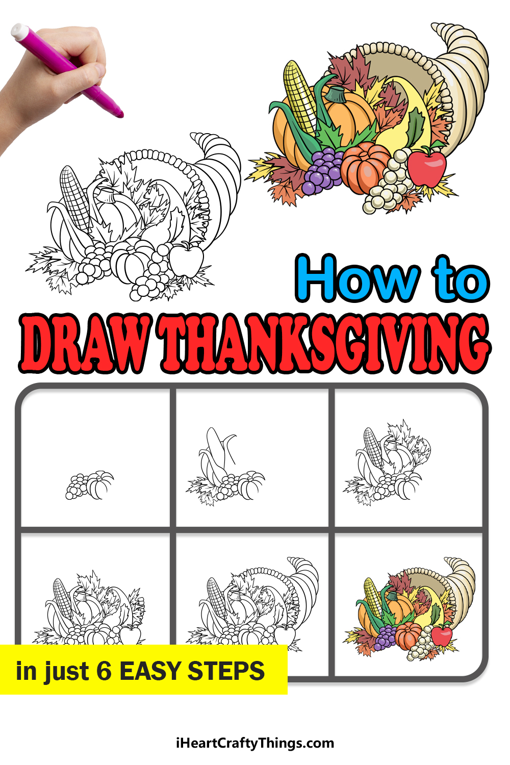 how to draw thanksgiving in 6 easy steps