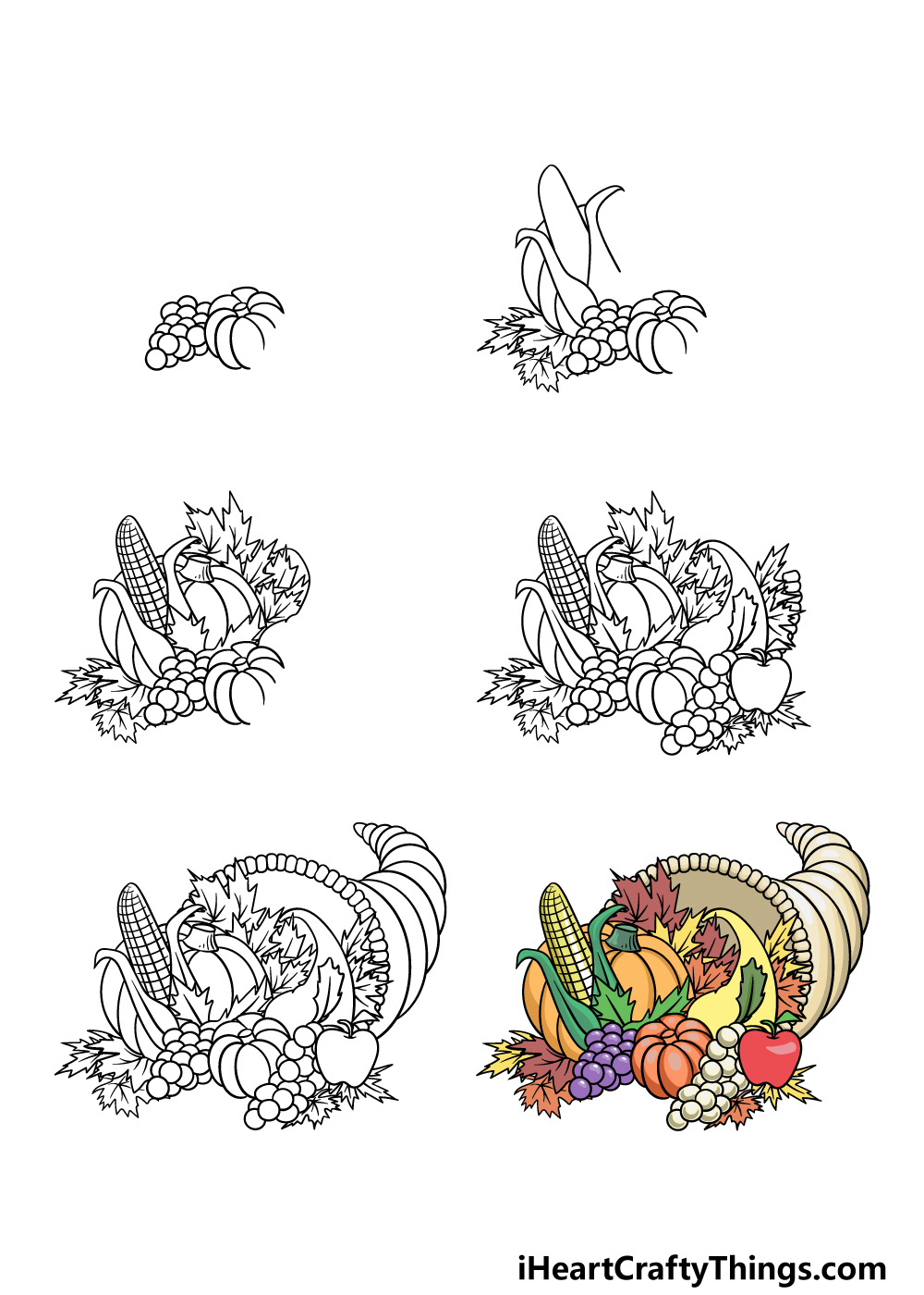 how to draw Thanksgiving in 6 steps