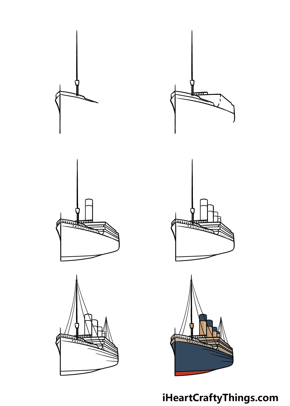 how to draw the titanic in 6 steps