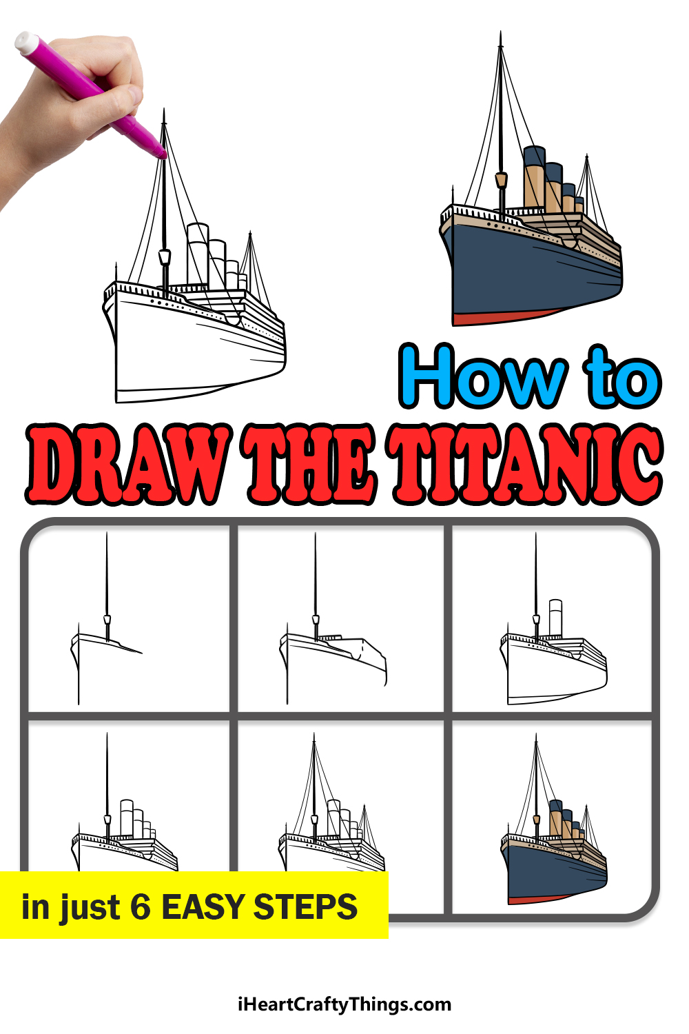 how to draw the titanic in 6 easy steps