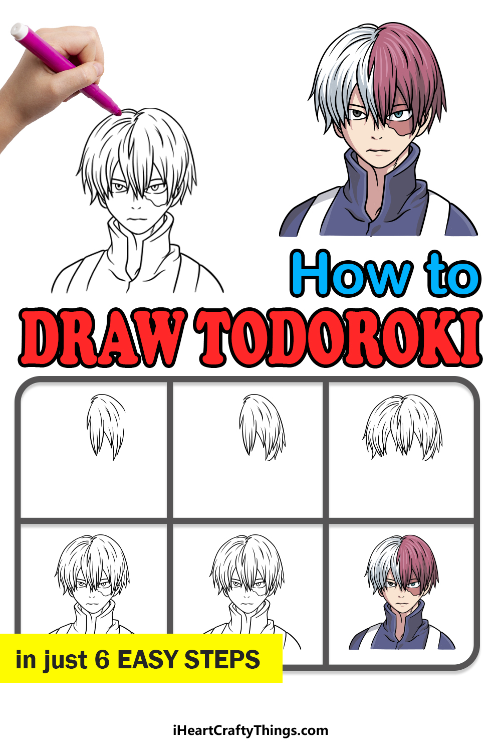 how to draw todoroki in 6 easy steps