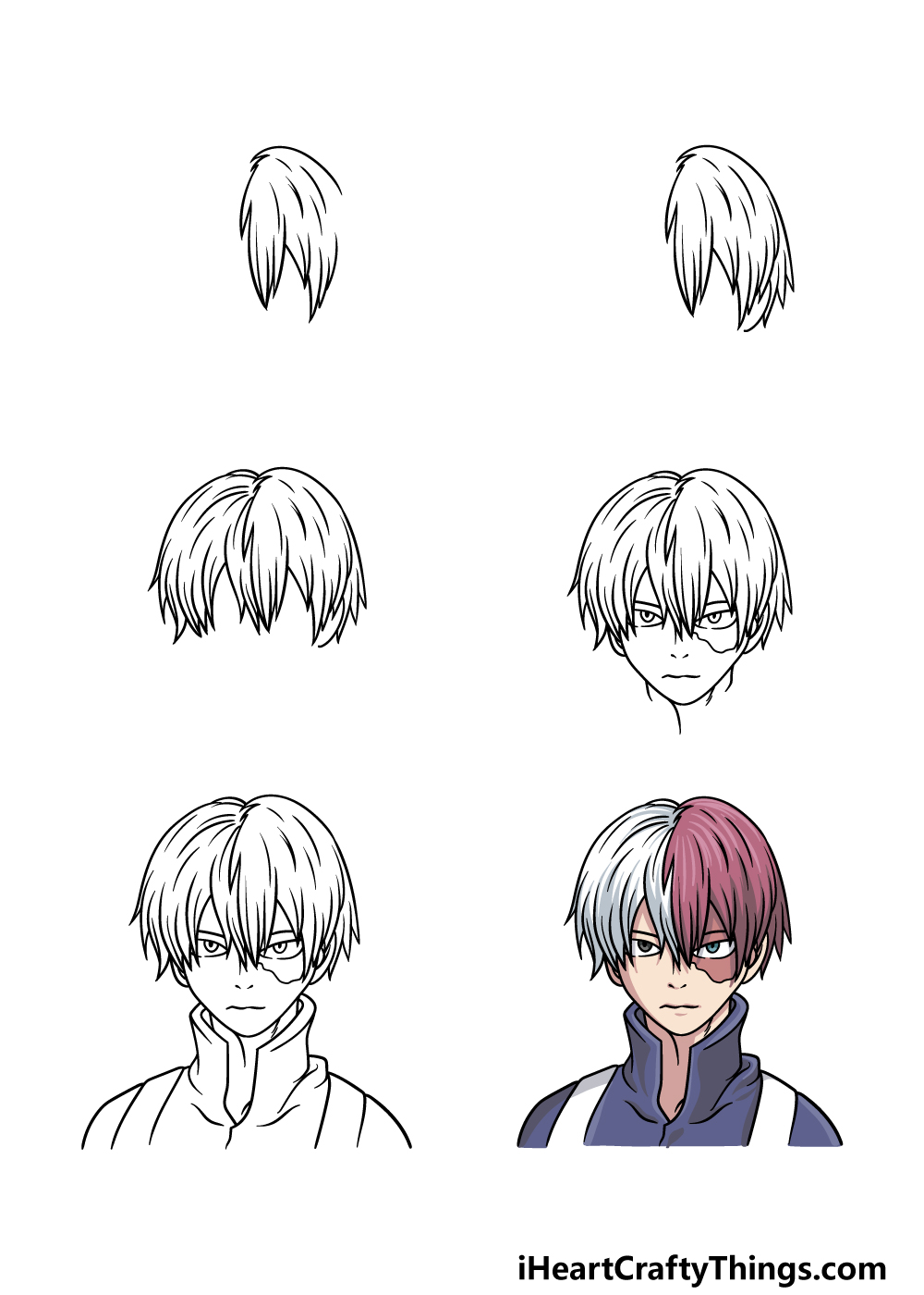 How To Draw Todoroki in 6 steps