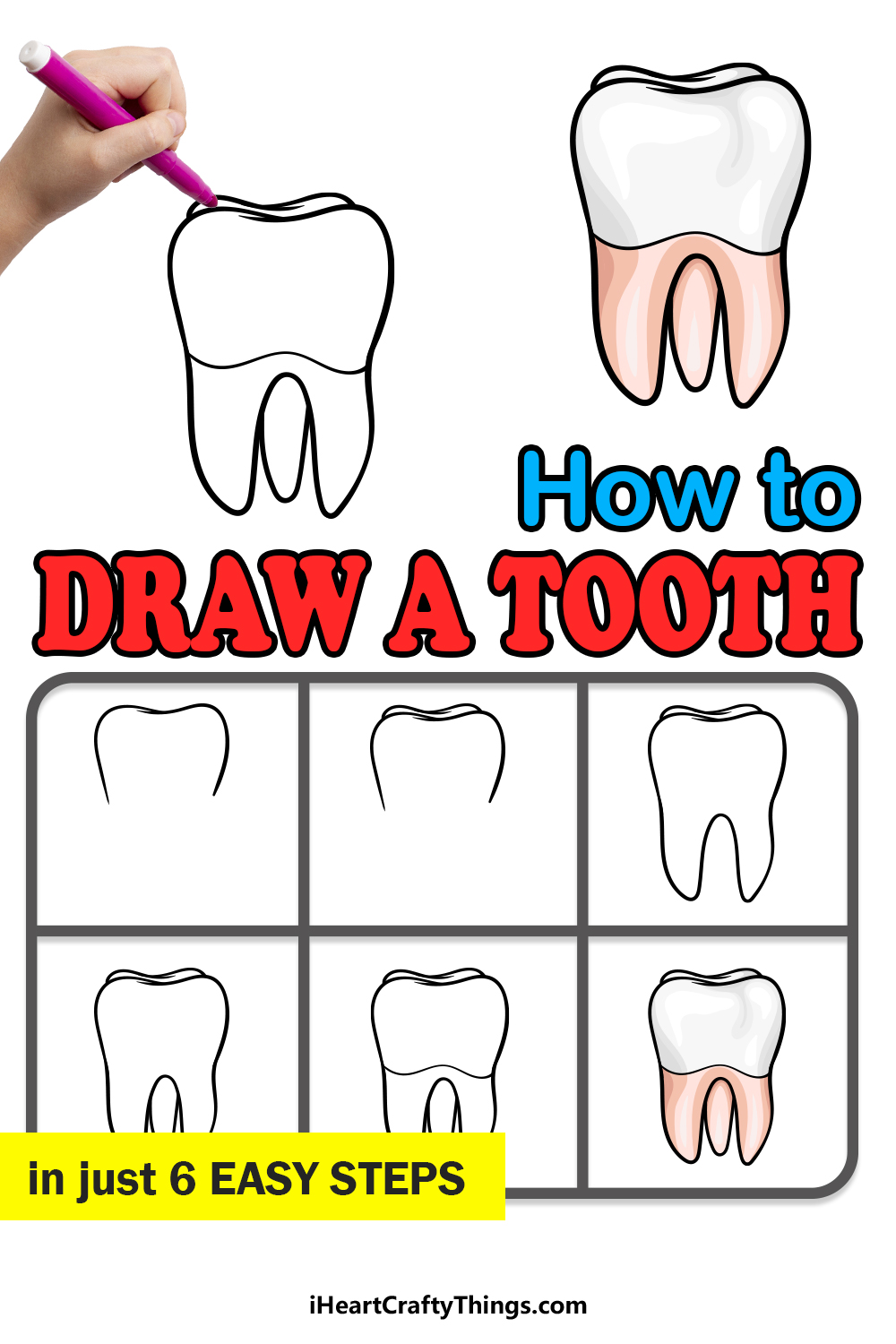 how to draw a tooth in 6 easy steps