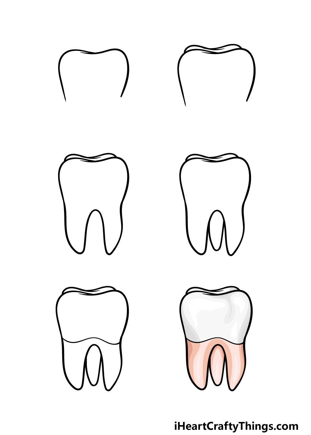 how to draw a tooth in 6 steps