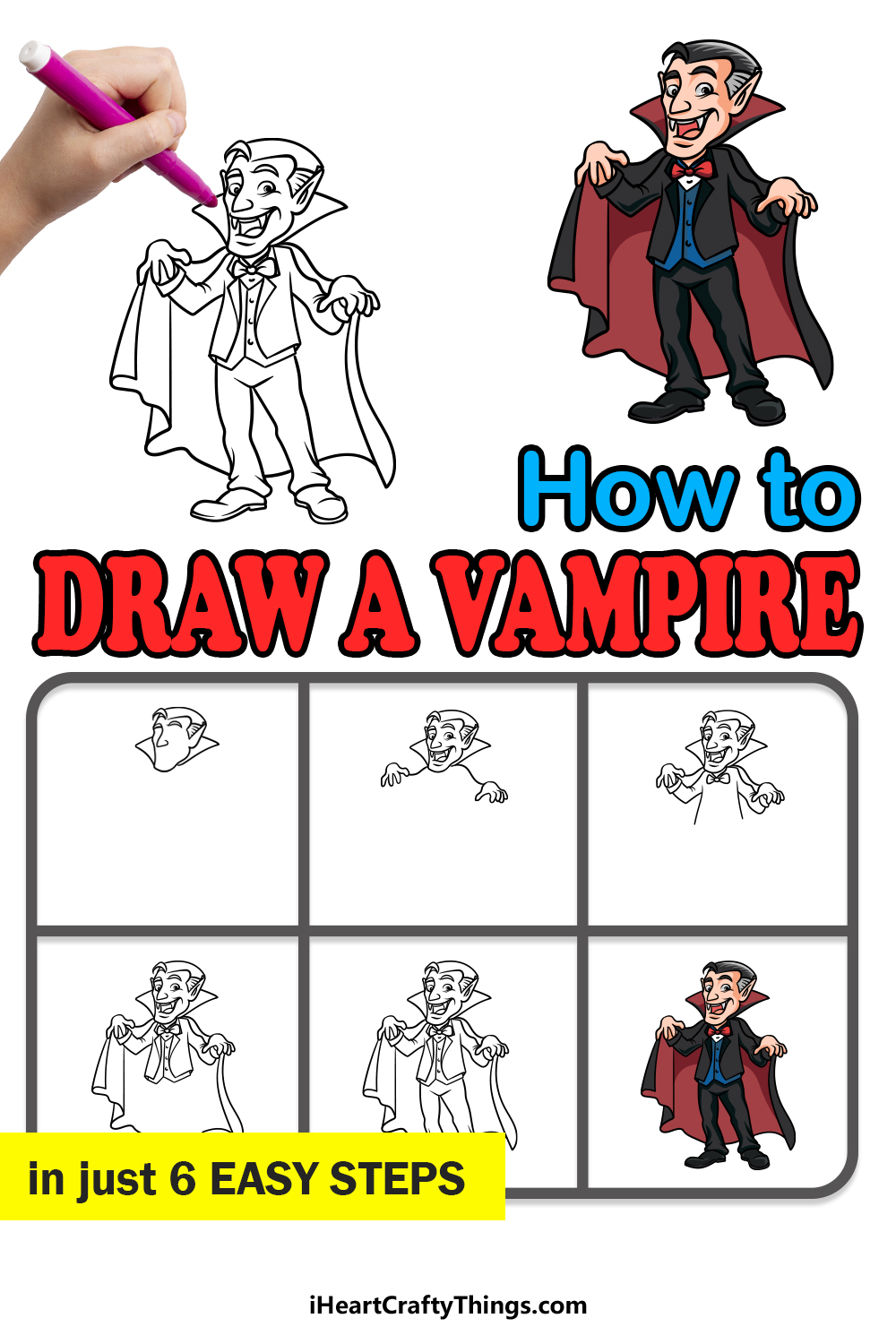 how to draw a vampire in 6 easy steps