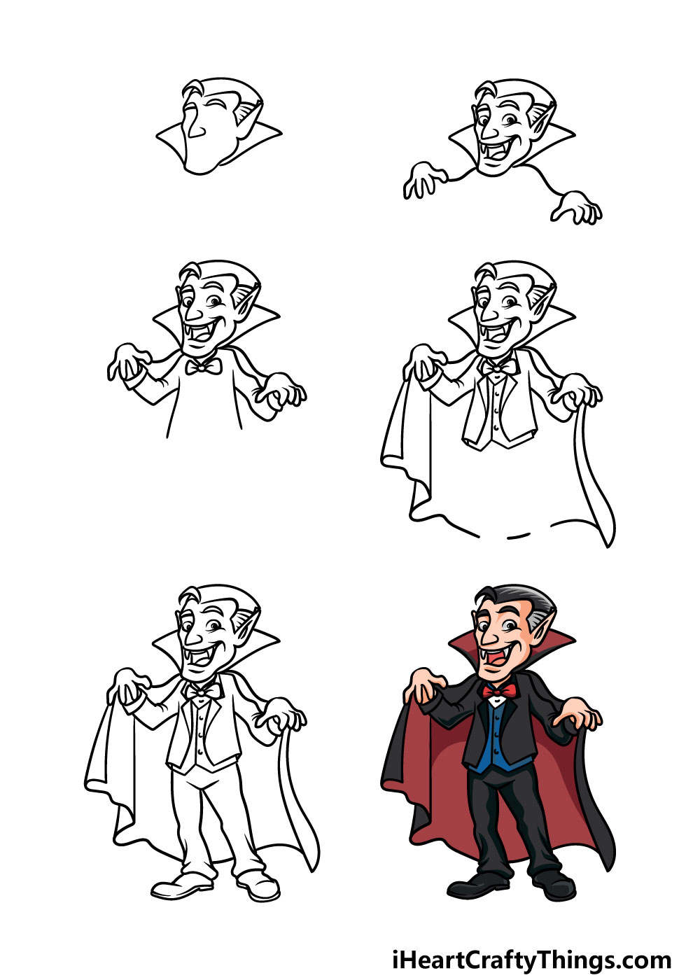 how to draw a vampire in 6 steps