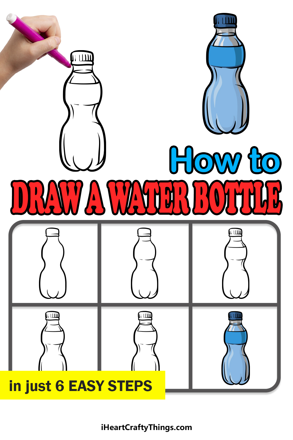 how to draw a water bottle in 6 easy steps