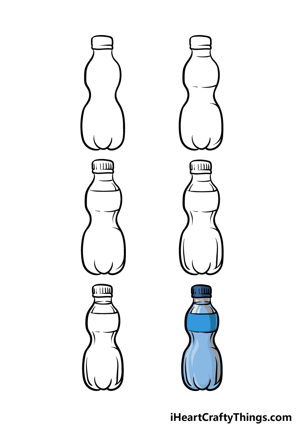 how to draw a water bottle in 6 steps