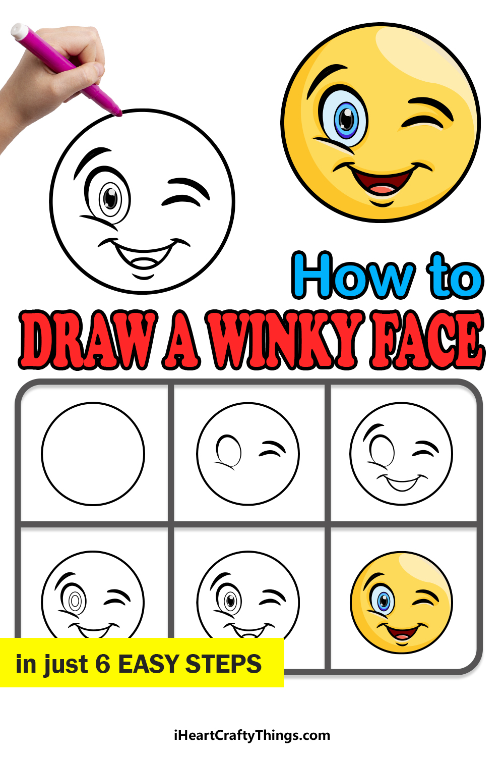 how to draw a winky face in 6 easy steps