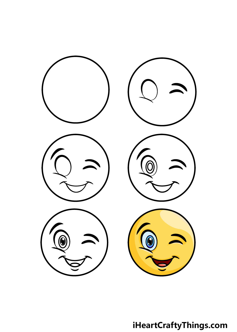 how to draw a winky face in 6 steps