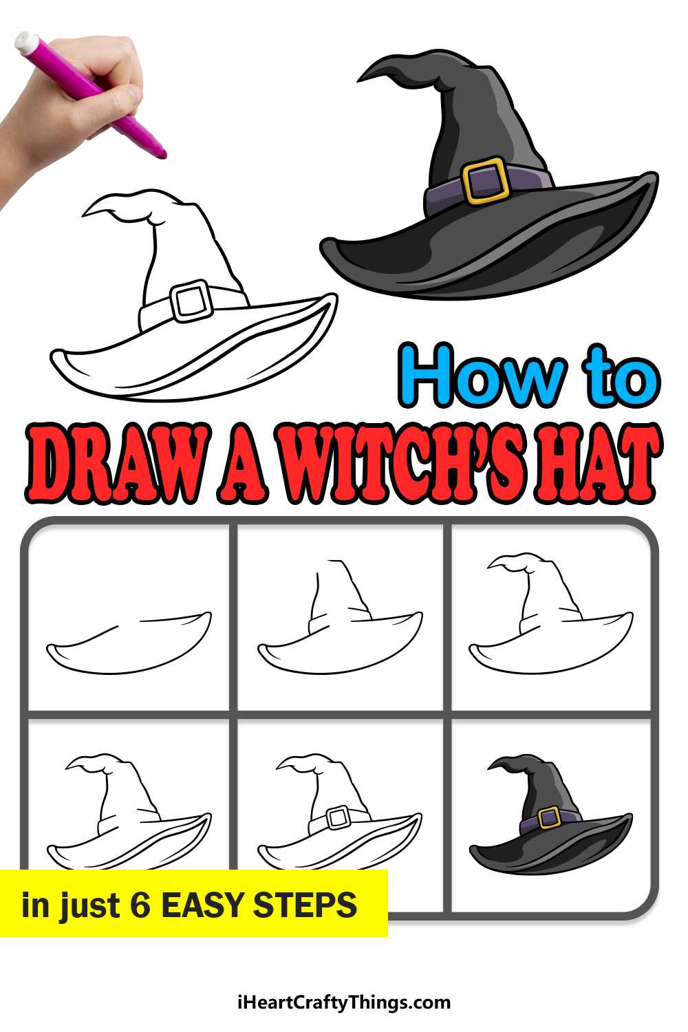 how to draw a witch hat in 6 easy steps
