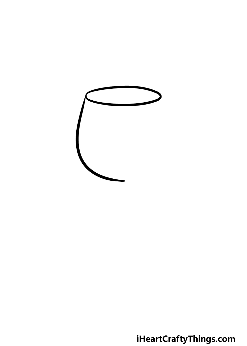 drawing a wine glass step 1