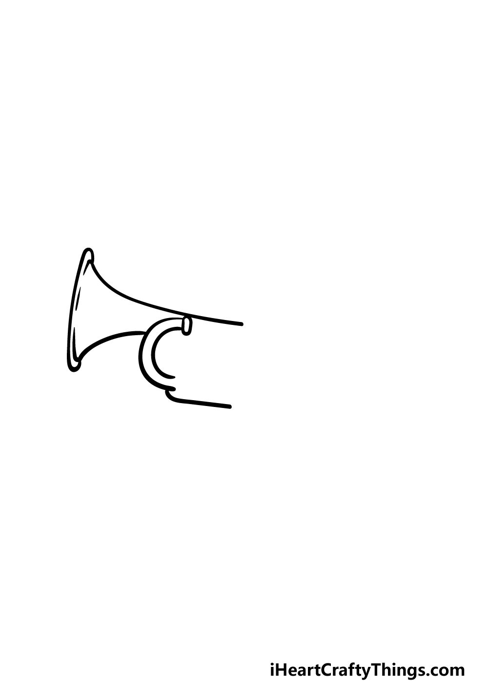 drawing a trumpet step 1