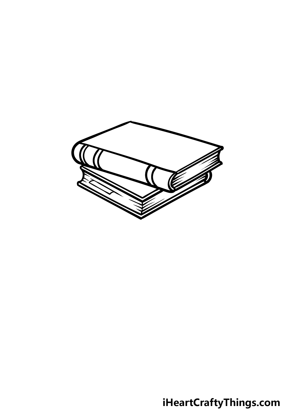 drawing a stack of books step 2